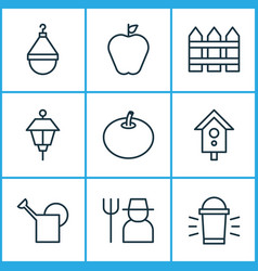 Garden icons set with farmer scale park lamp and vector