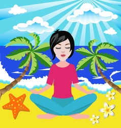 Girl meditates in the yoga lotus position in seasi vector