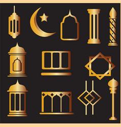 Gold islamic decorative ornaments set vector