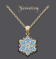 Gold pendant with filigree and precious stone vector