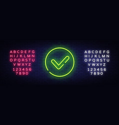 green check mark neon sign check list vector image