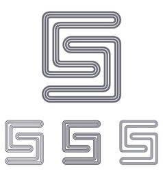 Grey line s logo design set vector