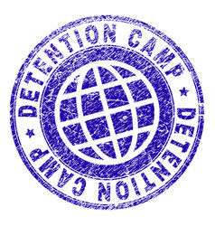 Grunge textured detention camp stamp seal vector