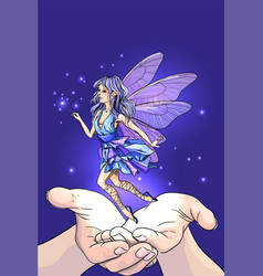 hands releasing cute fairy with magic wand vector image