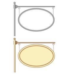 Hanging corner oval nameplates vector