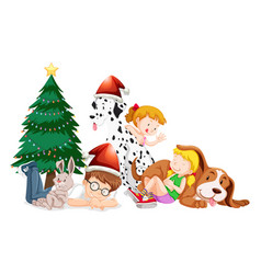 happy children and christmas tree on white vector image