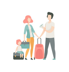 happy family travelling father mother and kid vector image