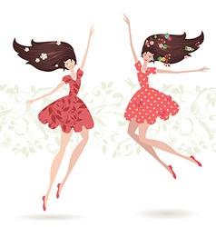happy teenage girls vector image