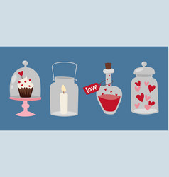Happy valentine day flat design love wedding items vector