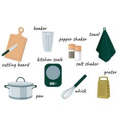 Kitchen equipment collection set vector