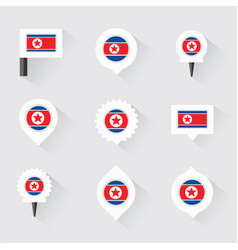 Korea north flag and pins for infographic and map vector
