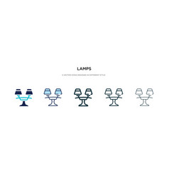 Lamps icon in different style two colored and vector