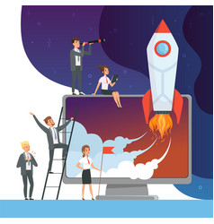 launch startup concept business of vector image