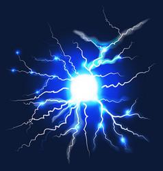 lightning on dark blue background vector image