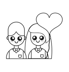 Line couple together with relationships romance vector