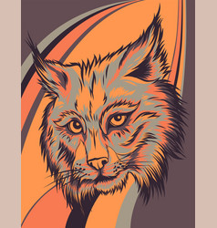 Lynx head on colored background vector