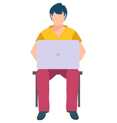 man sitting on chair and typing on laptop isolated vector image