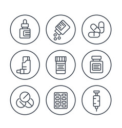 Medicaments line icons in circles on white vector