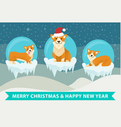 Merry christmas and happy new year poster vector