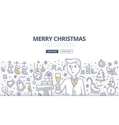 Merry Christmas Doodle Concept vector image