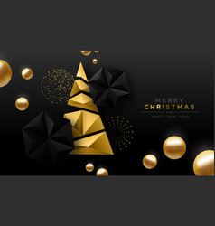 merry christmas gold low poly abstract pine tree vector image