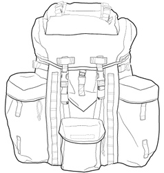 Military or hiking backpack outline vector image vector image