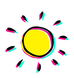 Modern hand drawing a sun in childish style vector