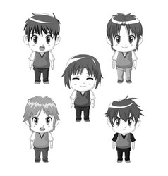 Monochrome set silhouette full body cute anime vector