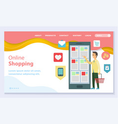 Online shopping using smartphone website page vector