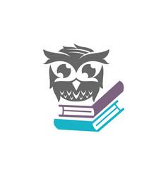 Owl book literature logo design template isolated vector