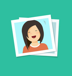 photo frame with smiling happy girl flat cartoon vector image