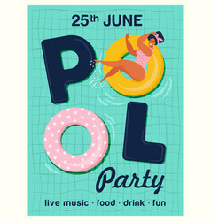 pool party invitation top view of vector image