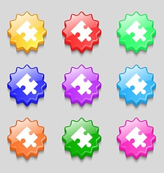 Puzzle piece icon sign Symbols on nine wavy vector
