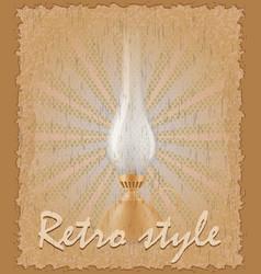Retro style poster old kerosene lamp vector