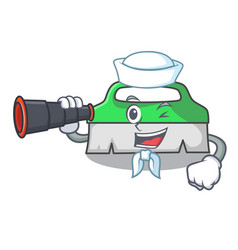 Sailor with binocular scrub brush mascot cartoon vector