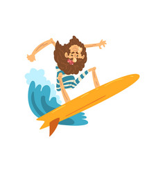 Senior man riding surfboard grandpa having fun vector
