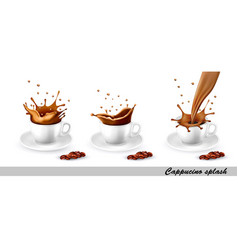 Set coffee and cappuccino splash in cup vector