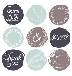 Set of 9 decorative wedding elements vector