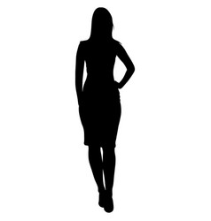 Silhoutte standing woman vector