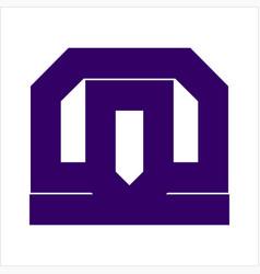 simple mi mt mo initials simple geometric logo vector image