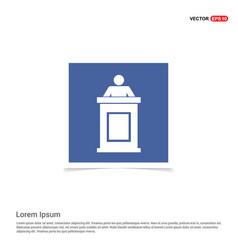 Speaker at rostrum icon - blue photo frame vector