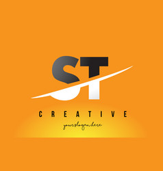 st s t letter modern logo design with yellow vector image