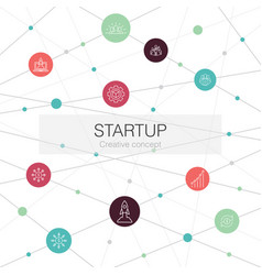 startup trendy web template with simple icons vector image
