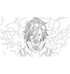 teen boy wearing gas mask vector image