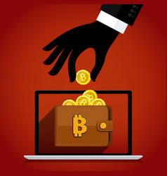 thief and crypto currency steal virtual money vector image