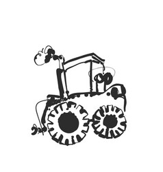 Tractor sketch hand drawn agrimotor cartoon vector