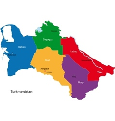 Turkmenistan map vector image