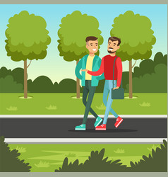 Two male friends talking and smiling while walking vector