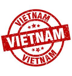 Vietnam red round grunge stamp vector
