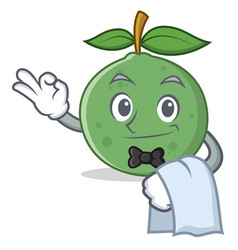 Waiter guava mascot cartoon style vector